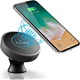XCOMM Qi Wireless Charger Car Mount Holder, Low Charging Temperature Nano-tech [Dashboard/Air Vent] Qi Charging Stand for iPhone X/8/8 Plus Samsung Galaxy Note 8 S9/S9 Plus S8/S8 Plus (Black)