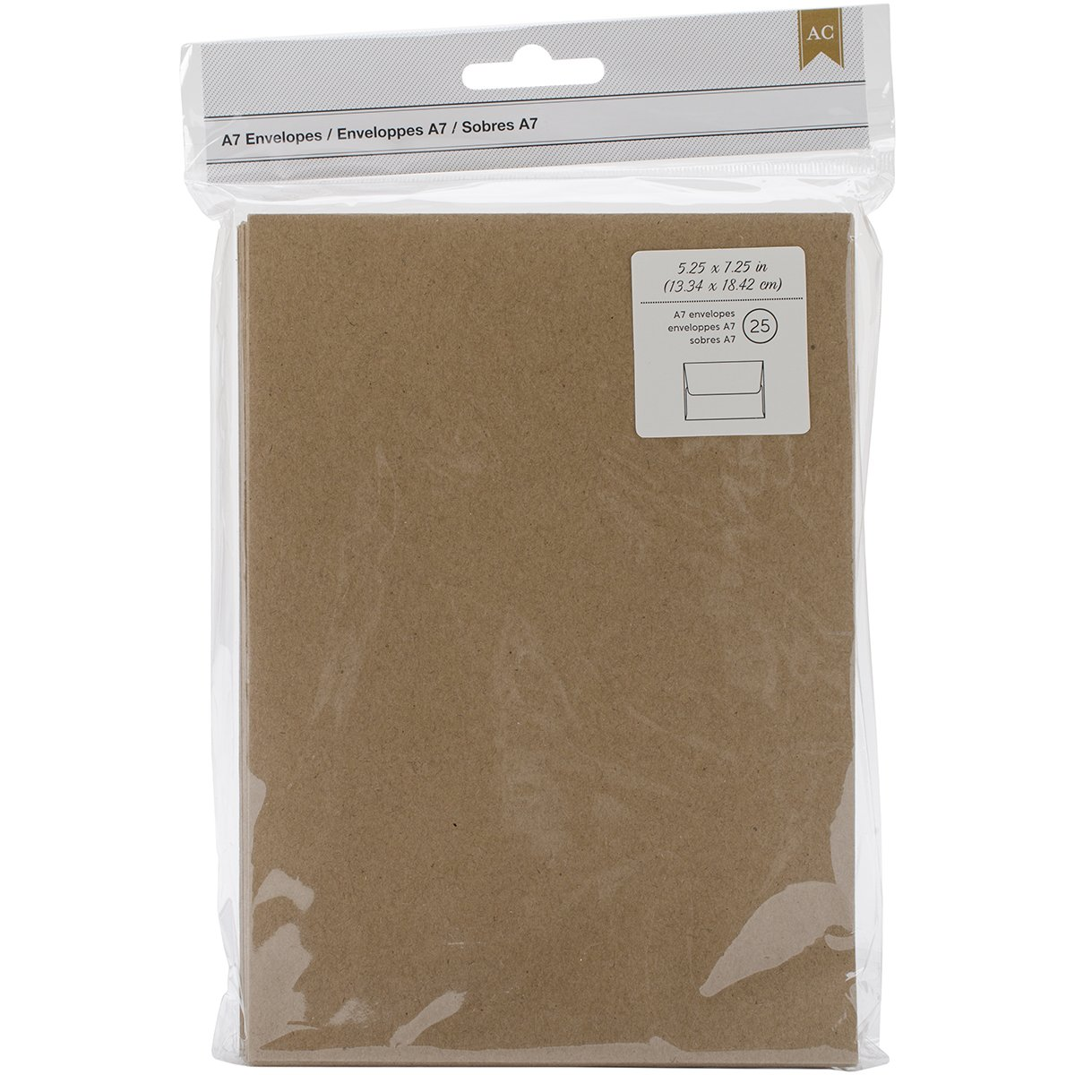American Crafts A7 Envelopes, 5.25 by 7.25-Inch, Kraft, 25/Pack 368591