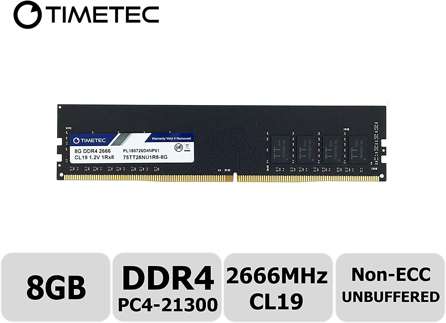 Timetec Hynix IC 8GB DDR4 2666MHz PC4-21300 Unbuffered Non-ECC 1.2V CL19 1Rx8 Single Rank 288 Pin UDIMM Desktop Memory RAM Module Upgrade (8GB)