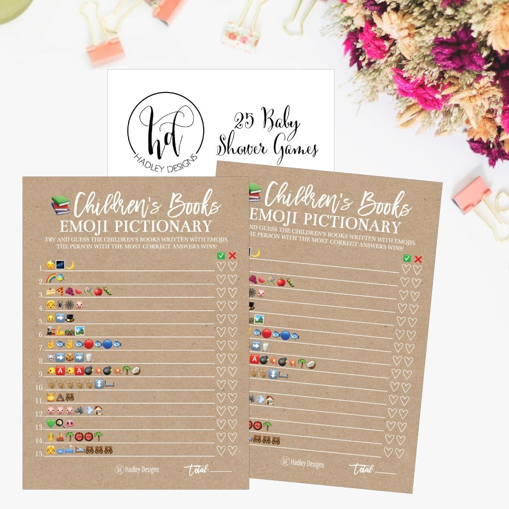 25 Rustic Emoji Children's Books Pictionary Baby Shower Game Party Ideas For Quiz Boy, Girl, Kids, Men, Women and Couples, Cute Classic Bundle Pack Set, Kraft Gender Neutral Unisex Fun Coed Cards by Hadley Designs (Image #5)