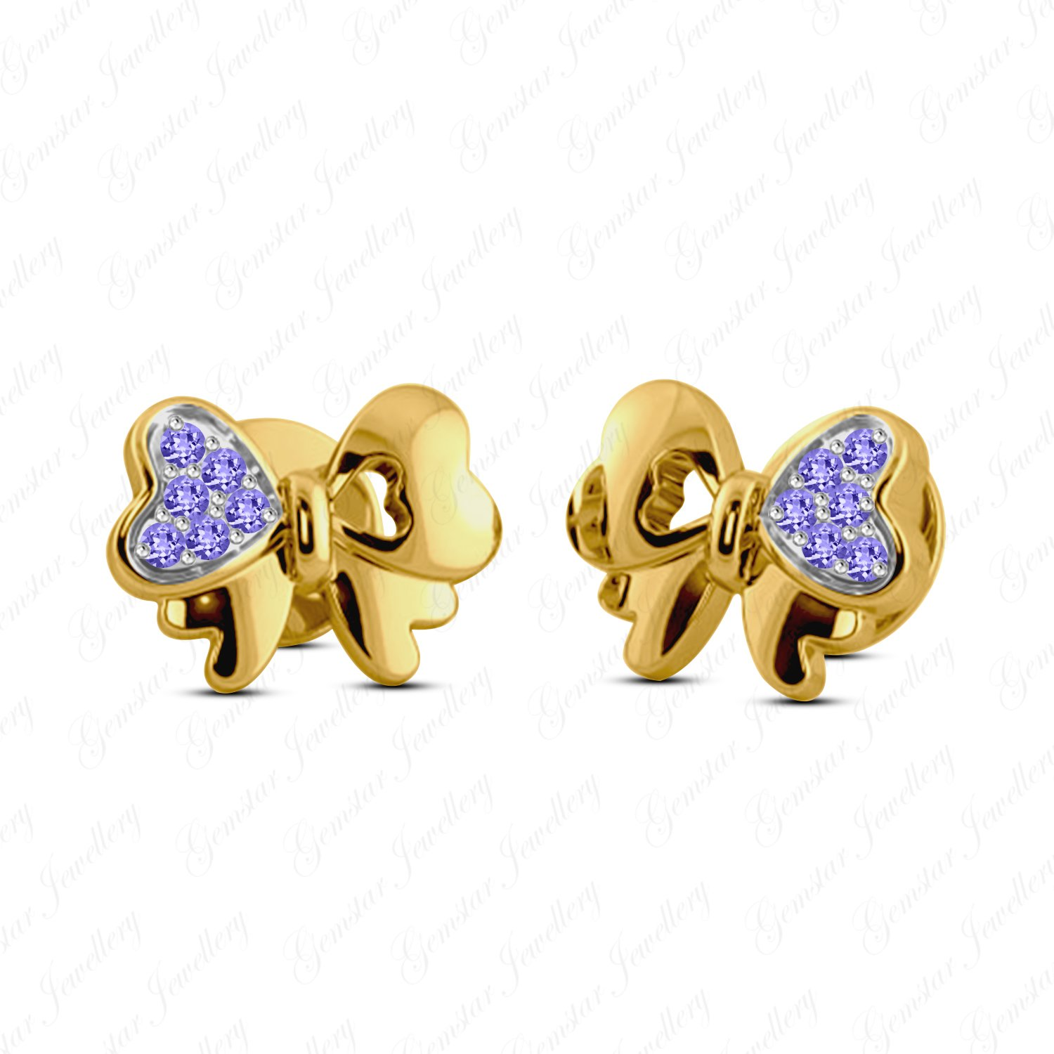 Gemstar Jewellery 925 Sterling Silver Round Tanzanite Minnie Mouse Bow Earrings 14k Yellow Gold Finish