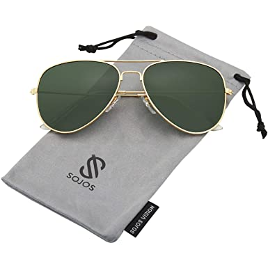 68704970f Sojos Aviator Sunglasses for Women - Green Lens, SJ1054: Amazon.ae ...