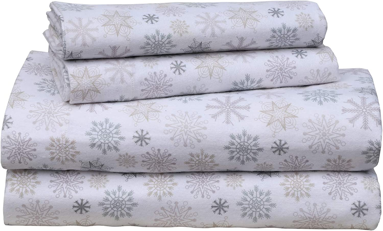 Green Plaid 4 Pc Full Sleepdown 160 GSM Durable Cotton Winter Flannel Sheet Set
