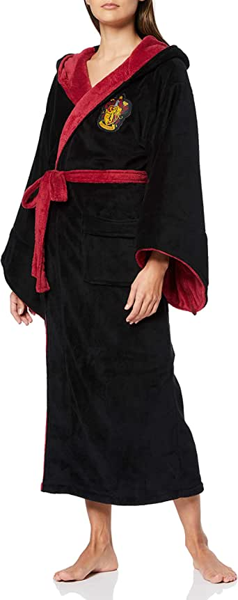Mens Black Harry Potter Gryffindor Crest Hooded Dressing Gown