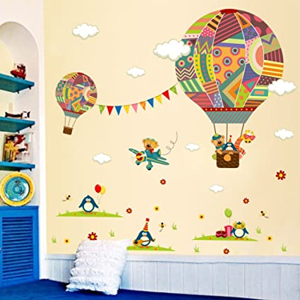 Hot Air Balloon Wall Art Sticker Animals Decal Diy Baby Nursery