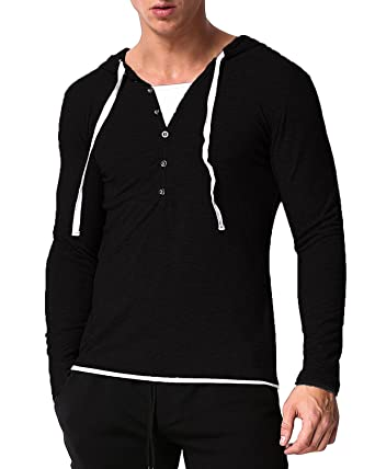 MODCHOK Men's Hooded Shirts Long Sleeve Hoodie V Neck Sweatshirt ...