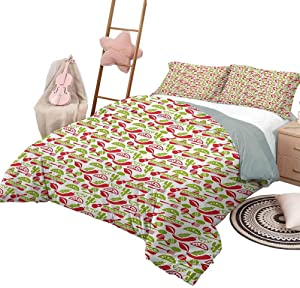 DayDayFun Quilt Set with Sheets Fiesta 3 Piece Bedspreads Coverlet Mexican Civilization Elements Hats Guitars Food Musical Instruments Queen Size Vermilion Green White