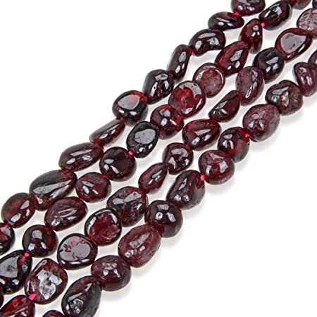 Natural Garnet Free Forms 3 Strands Beaded Necklace with Gold Findings.