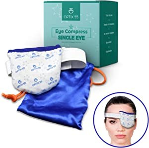 Single Moist Heat Eye Compress Pad - Microwavable, Eye Mask for Dry Eye | Good for Pink Eye, Blepharitis and Stye Treatment Relief | Ultra Absorbent, Washable and Reusable with Storage Pouch