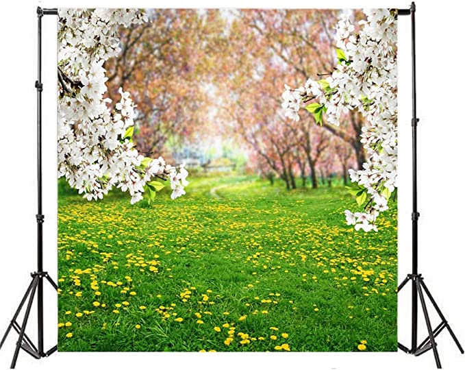 Floral 10x15 FT Backdrop Photographers,Abstract Spring Inspired Set with Cute Blossoms and Rectangles Geometric Retro Style Background for Baby Shower Bridal Wedding Studio Photography Pictures