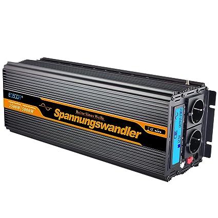 EDECOA inversor 24v 220v inversor de corriente 2500w ONDA PURA transformador 24v 220v con mando a distancia