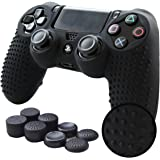 Pandaren STUDDED Anti-slip Silicone Cover Skin Grip Compatible for PS4 /SLIM /PRO controller(Black controller skin x 1 + FPS PRO Thumb Grips x 8)