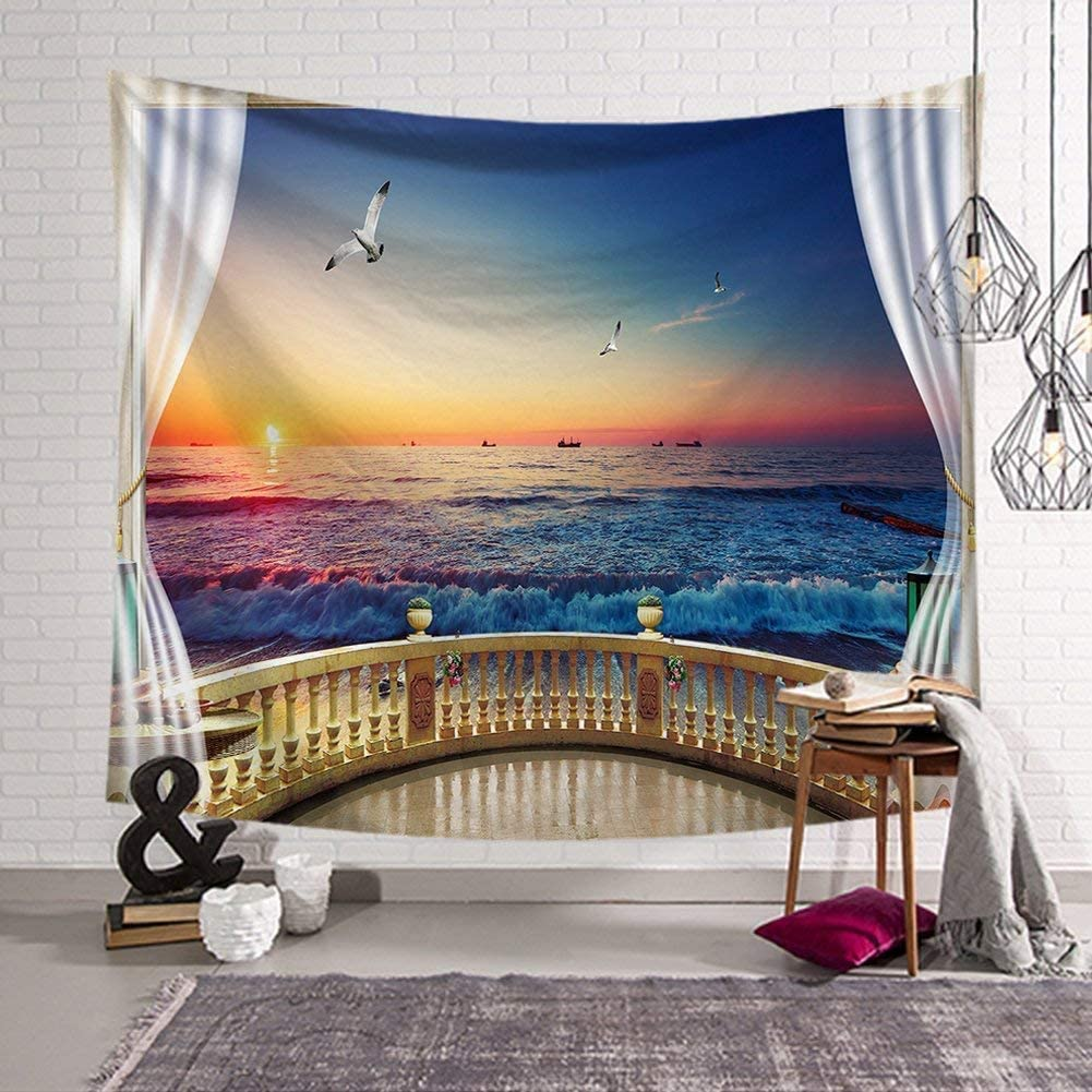 """Ocean Decor Tapestry,Nature Scenery Sea Wave Modern Landscape Fake Window with Sunset Exotic Design Wall Hanging Tapestry For Bedroom Living Room Dorm. (#4, 78""""L*58""""W)"""