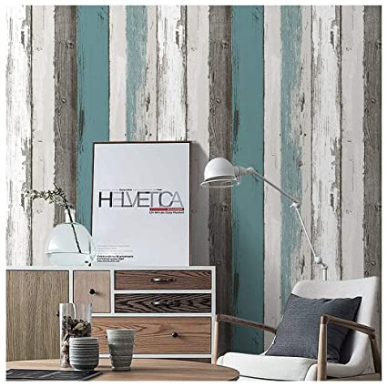 Blooming Wall Peel and stick Distressed Wood Panel Wallpaper, Gray Multicolor (PSWM-07) - - Amazon.com
