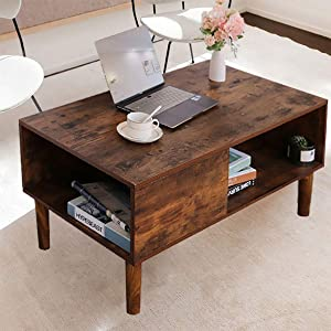 Grafzeal Mid-Century Coffee Table, Retro Cocktail Table, Rectangular Sofa Table with Storage Shelf TV Table, Office Accent Table, Wood Furniture for Living Room, Easy Assembly, Rustic Brown FKFZ2X