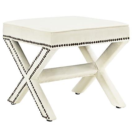 Astonishing Amazon Com Modway Rivet Bench In Ivory Kitchen Dining Creativecarmelina Interior Chair Design Creativecarmelinacom