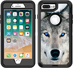 Teleskins Protective Designer Vinyl Skin Decals/Stickers Compatible with Otterbox Defender iPhone 8 Plus/iPhone 7 Plus Case - Blue Eyed Wolf Face Wolves Design Patterns - only Skins and not Case