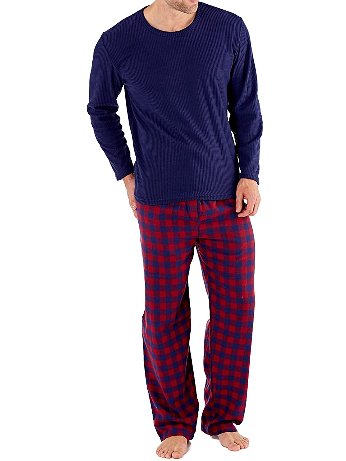 Harvey James Mens Thermal Fleece Check Pyjamas