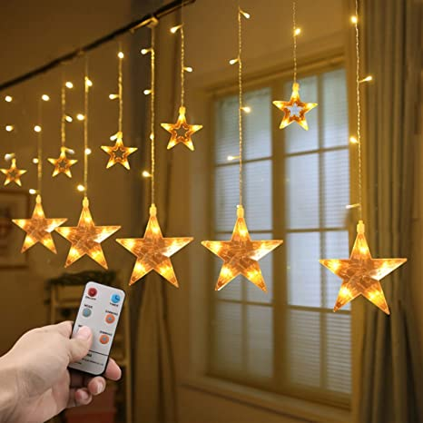 star curtain lights christmas decorations string lights 8 modes 72ft 108 leds with remote