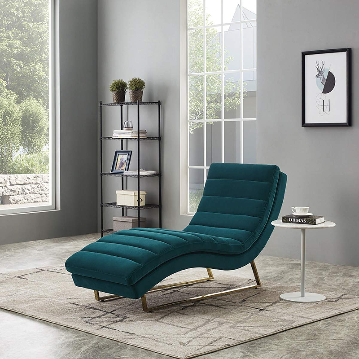 Limari Home Ernesto Collection Modern Style Living Room Velvet Fabric Upholstered Contemporary Tufting Lounge Chaise With Stainless Steel Metal Legs, Green by Limari Home