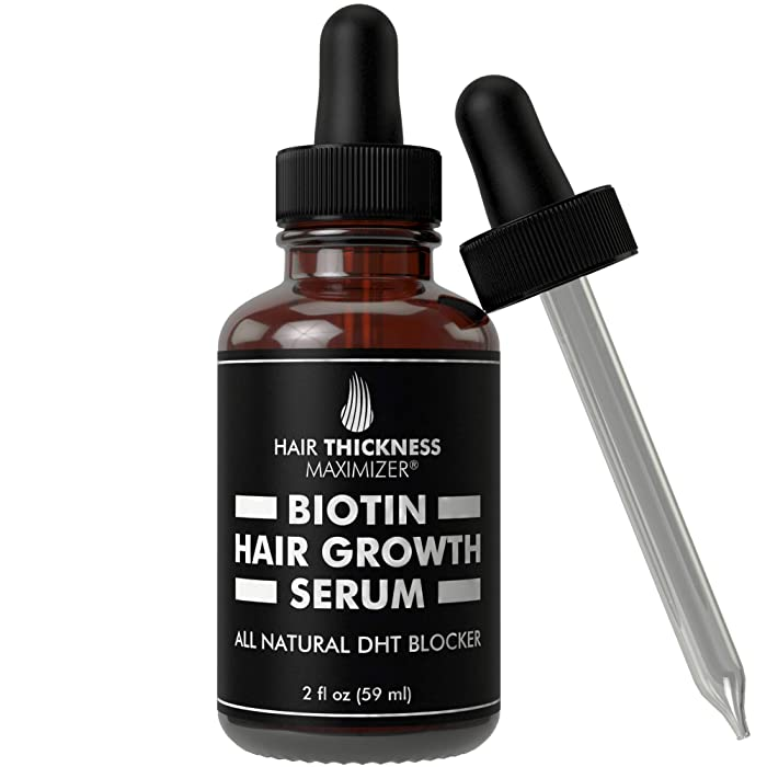 Hair Growth Serum with Biotin Oil by Hair Thickness Maximizer. For Hair Loss, Damaged, Dry, Frizzy Hair. Natural Thickening and Smoothing of Hair and Nourishing of Scalp for Women and Men (2oz)