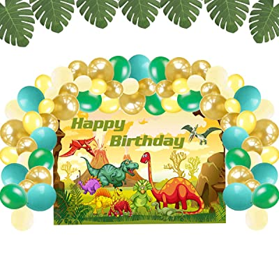 Dinosaur Birthday Party Supplies Decorations, Dinosaur Backdrop and Balloons Kit for Kids Photo Background, Dinosaur Décor (No Banner Cake Topper, Favors and Flatware): Toys & Games