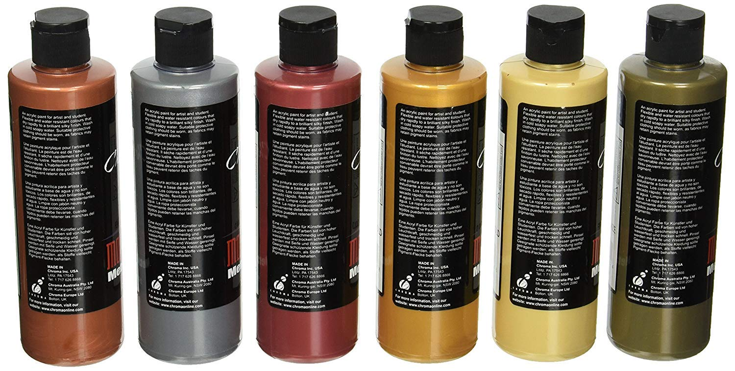 Amazon.com: Chroma Molten Metals Acrylic Paint Set, 8 oz Bottle, Assorted Color, Set of 6 (2.(Pack))
