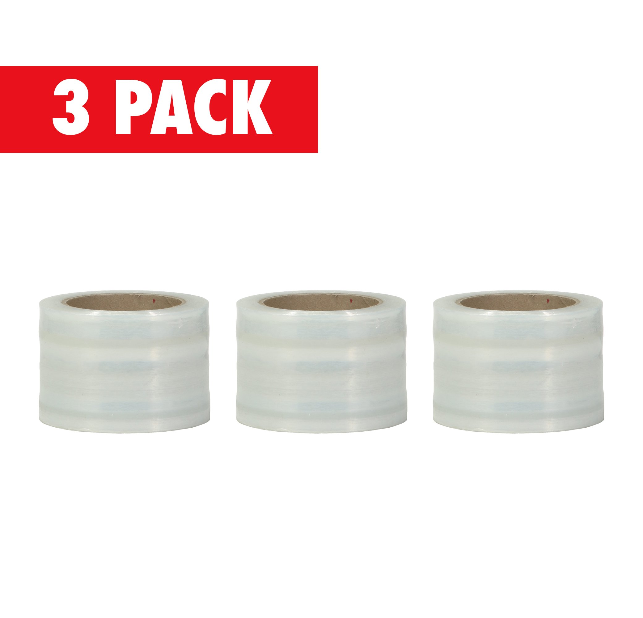 Plastic Stretch Pallet Wrap Core, 3 Inches X 1000 Feet, 80 Gauge, Clear Shrink Stretch Film Roll, Furniture, Boxes, Pallets, Industrial Strength, Made in USA (3-Pack)