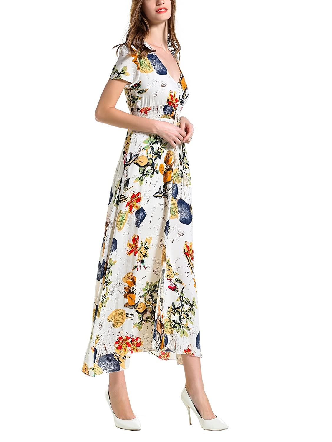 ANGELADY Bohemian Women Button Up Split Floral Print Short Sleeve Beach Maxi Dress at Amazon Womens Clothing store: