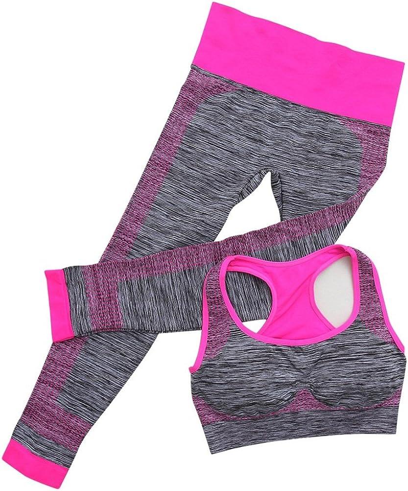 Brightup Femme 2 Pi/èces Ensemble de Sport Soutien-Gorge de Yoga sans Armature et Leggings pour Fitness Jogging