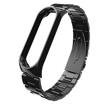 Beetest ES Correas Xiaomi Mi Band 3, Reloj Lujoso Inteligente De Lujo Elegante De Acero Inoxidable De Reemplazo Inteligente para Xiaomi Mi Band 3 Negro: ...