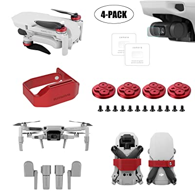 Tineer for DJI Mavic Mini Drone Accessory Kits - Protective Lens Film Foils + Propeller Guard Lock Fixing Paddle Clip + Landing Gear Extended Legs Sets + Upgrade Motor Cover Dust Proof Cap (Red) : Camera & Photo