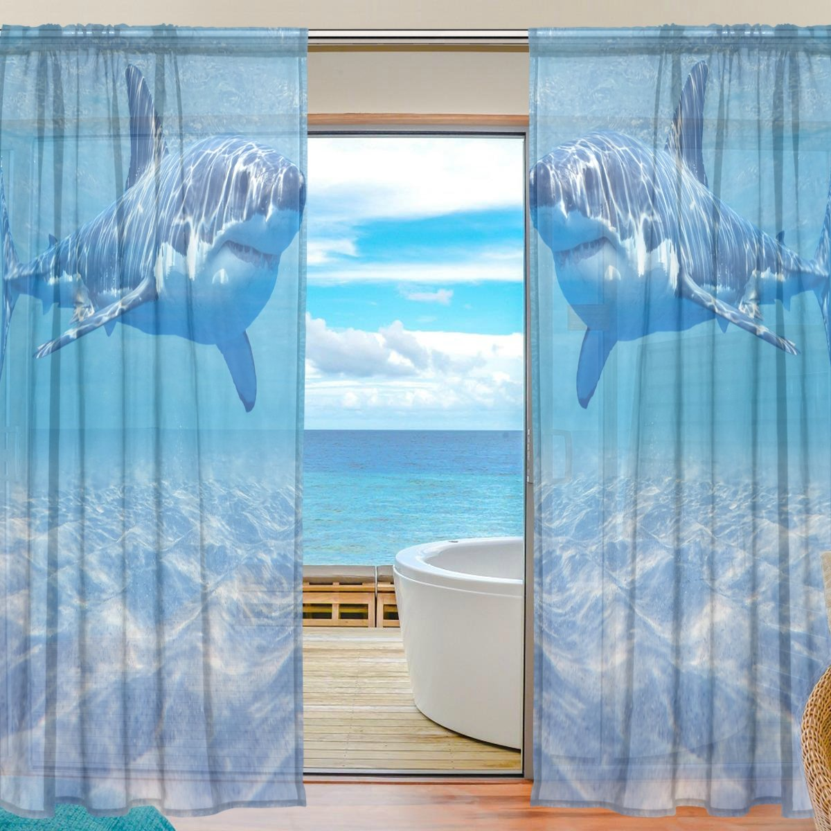 SEULIFE Window Sheer Curtain Ocean Sea Shark Voile Curtain Drapes for Door Kitchen Living Room Bedroom 55x78 inches 2 Panels g2519151p112c126s167