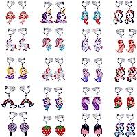 20 Pairs Clip on Earrings Princess Play Jewelry Earrings Set Mermaid Clipons Unicorn Clipon Earring Lollipop Ice Cream…
