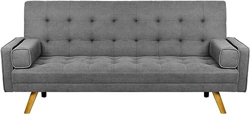 Pawnova Fabric Tufted Split Back Sofa Bed,Grey Sofabed, 75.60 x26.80 x15.50