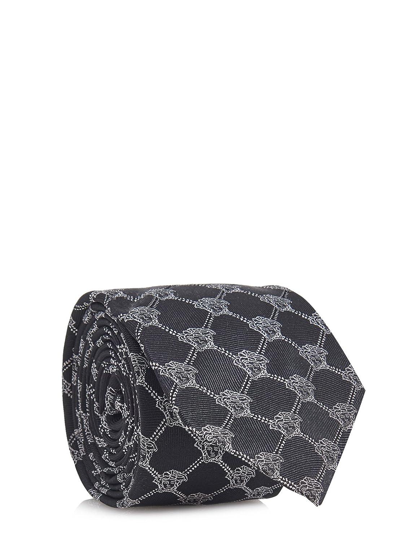 Gianni Versace Men's Black-White Italian Silk Tie