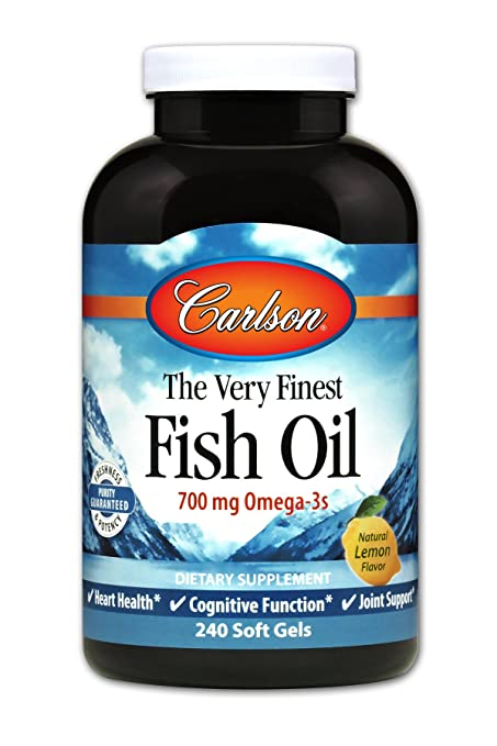 Carlson The Very Finest Fish Oil, Lemon, Norwegian, 700 mg Omega-3s, 240 Soft Gels