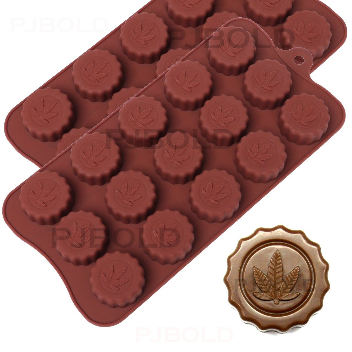 Marijuana Leaf Embossed Silicone Chocolate Candy Mold Ice Cube Trays, 2 Pack QGP Q1049