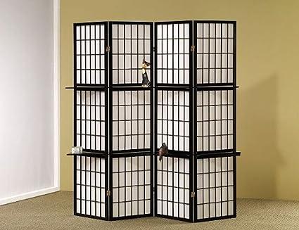 Charmant Legacy Decor 4 Panel Shoji Folding Screen Room Dividers With Shelving,  Black Finish