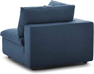 Modway Commix Down Filled Overstuffed 3 Piece Sectional Sofa Set, Armless Chair/Two Corner Chairs, Azure