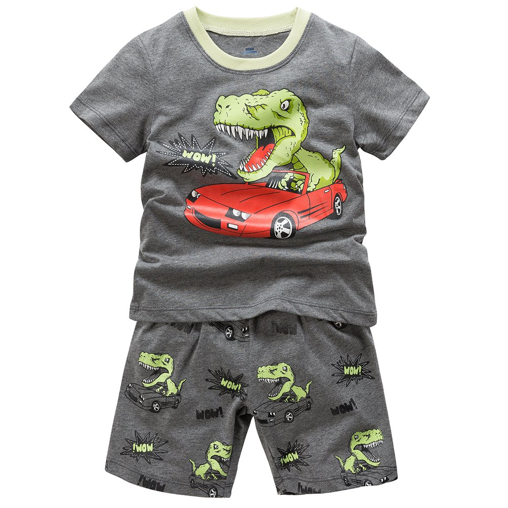 B.GKAKA Boys Summer Pajamas Dinosaur-Charge Toddler Kids Sleepwear 2 Piece Iron Gray 3T