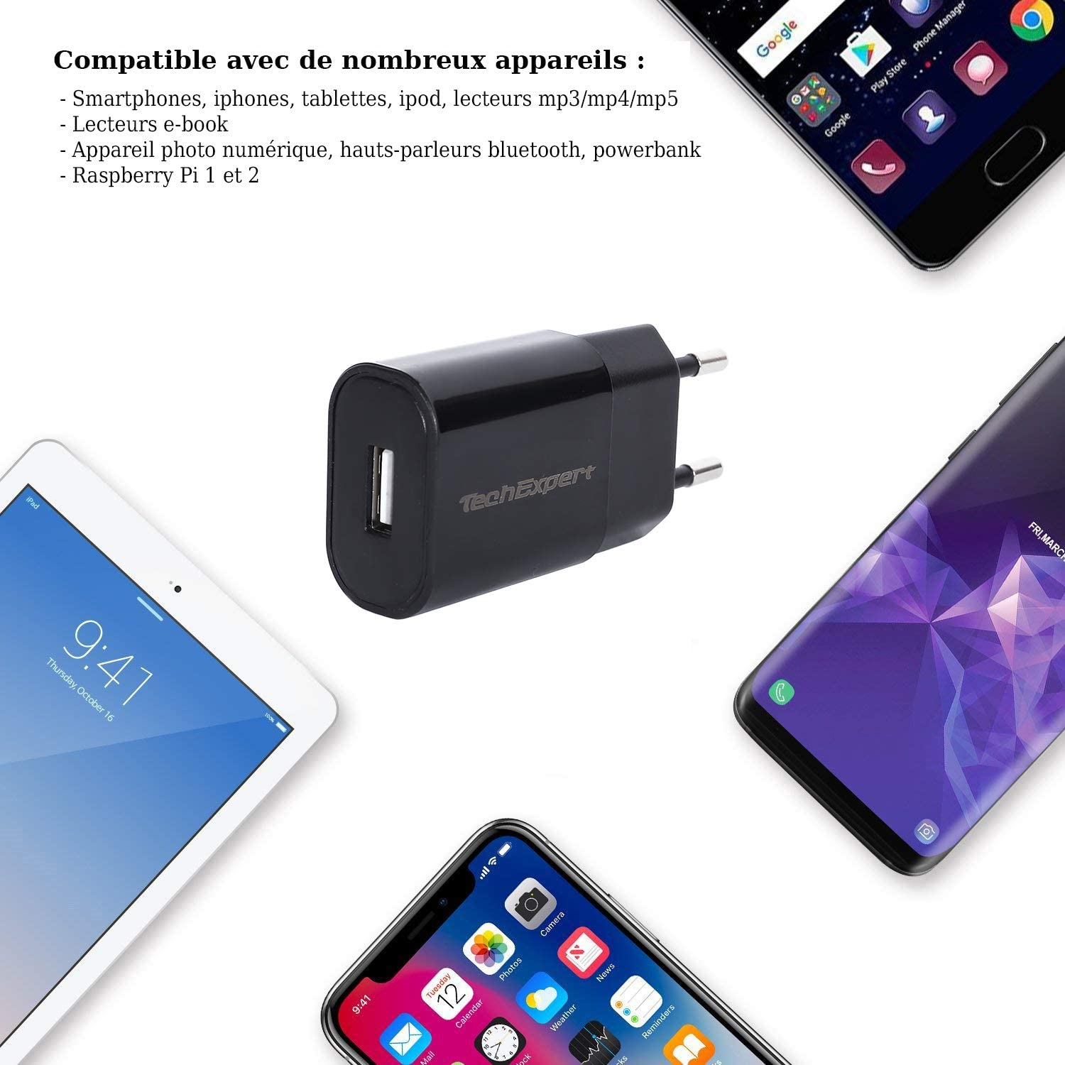 Chargeur Secteur vers USB Noir 5V 2A pour iPhone 7 7Plus, iphone 6 6S 6Plus, Galaxy Note 6, Galaxy S6 S7, Honor 7, Honor 8, Nokia, LG, Huawei,