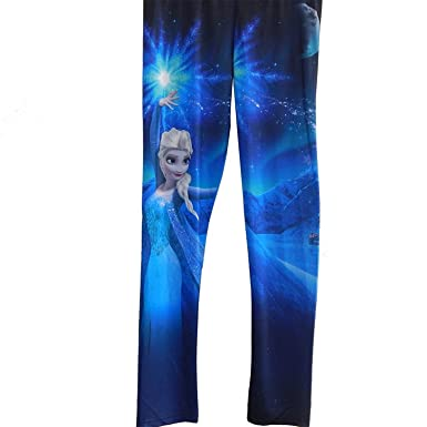 dee497b794d0c Disney Frozen Elsa Celestial Girls Stretchy Legging - Blue -: Amazon.co.uk:  Clothing