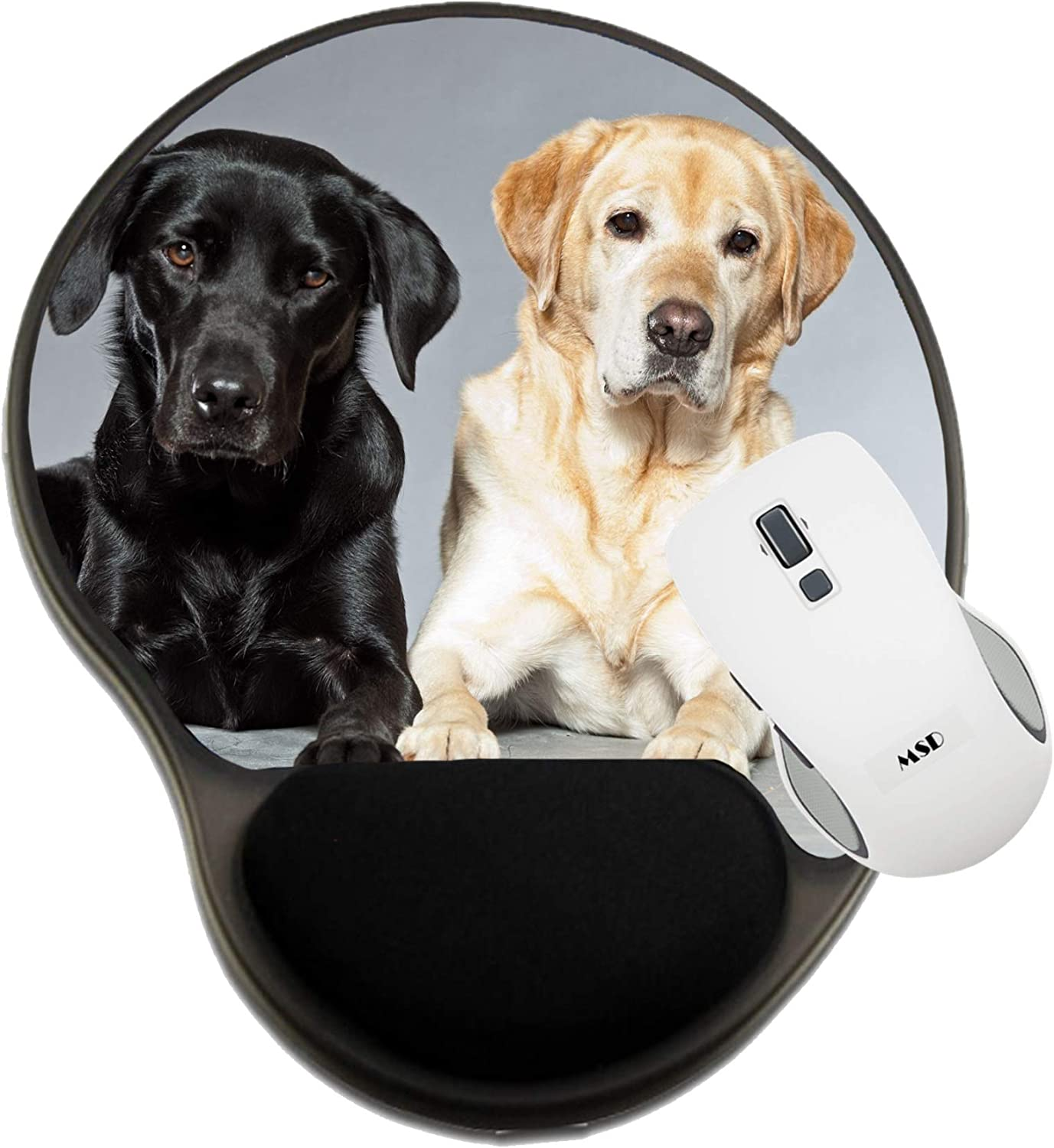 Mat with Wrist Support MSD Mousepad Wrist Rest Protected Mouse Pads Image ID 17777968 Blonde and Black Labrador retriev
