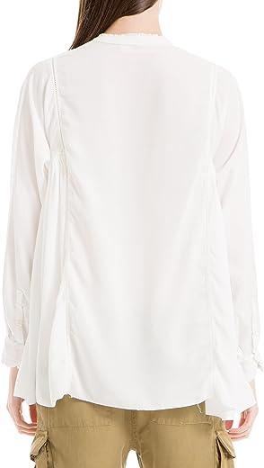 قميص ماكس ستوديو نسائي عاجي مطوي كشكشة بحافة مكشكش مرصع بالجواهر مقاس XS