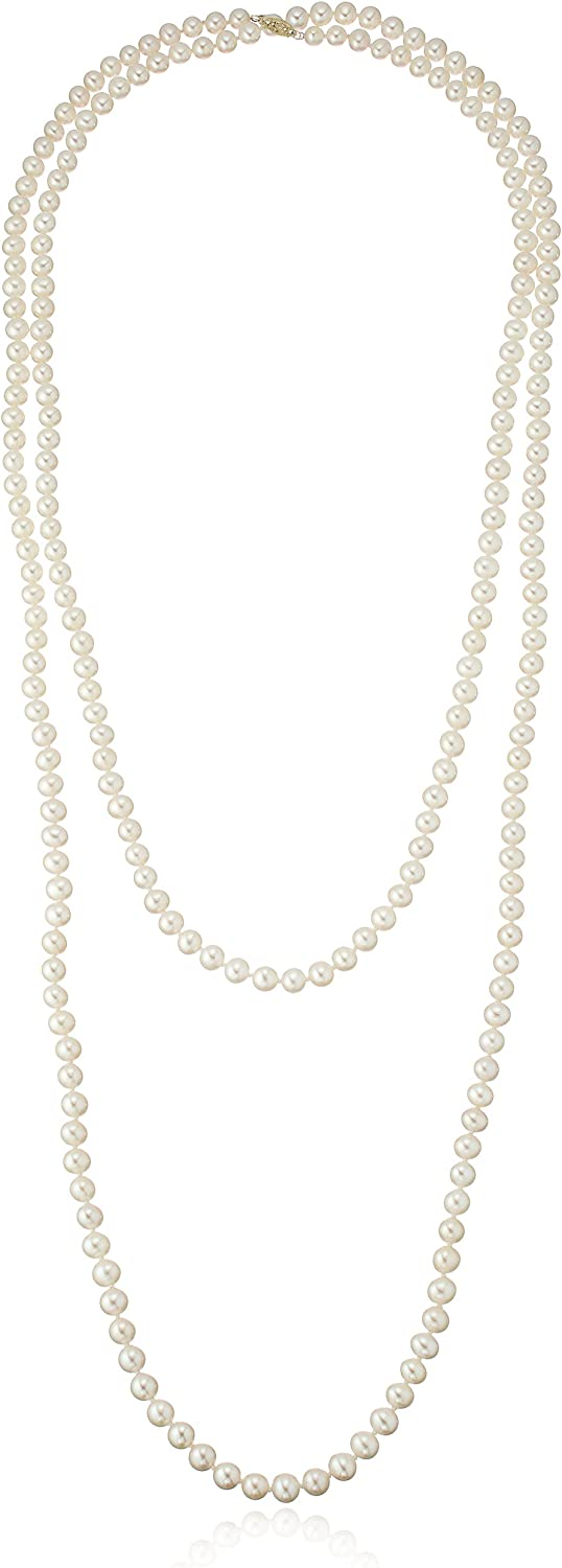 14k Gold 6-7mm White Freshwater Cultured AA-Quality Pearl Necklace