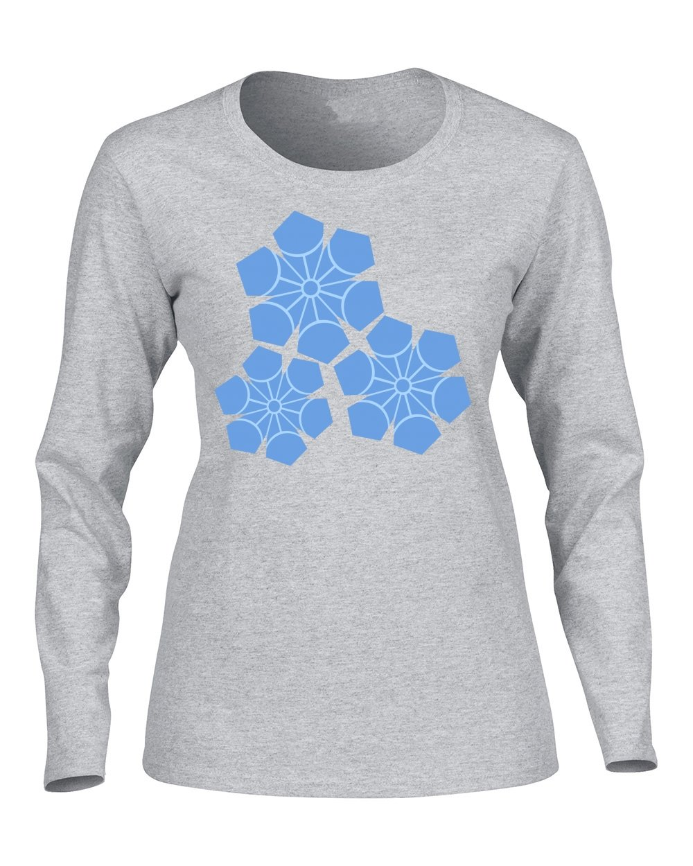 Exull Fashion Hot Style Blue Snow Flake In Winter For Women's Long Sleeve Shirt Gray Medium