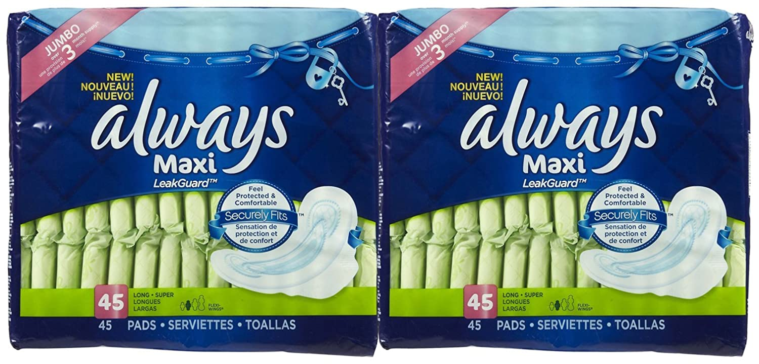 Amazon.com: Always Long+Super Maxi Pads with Wings, Unscented, - 2 pk.: Health & Personal Care