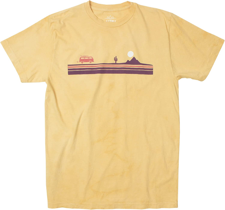 VW Bus Cactus Desert Stripe Road Trip Mens Lemon Graphic tee Shirt