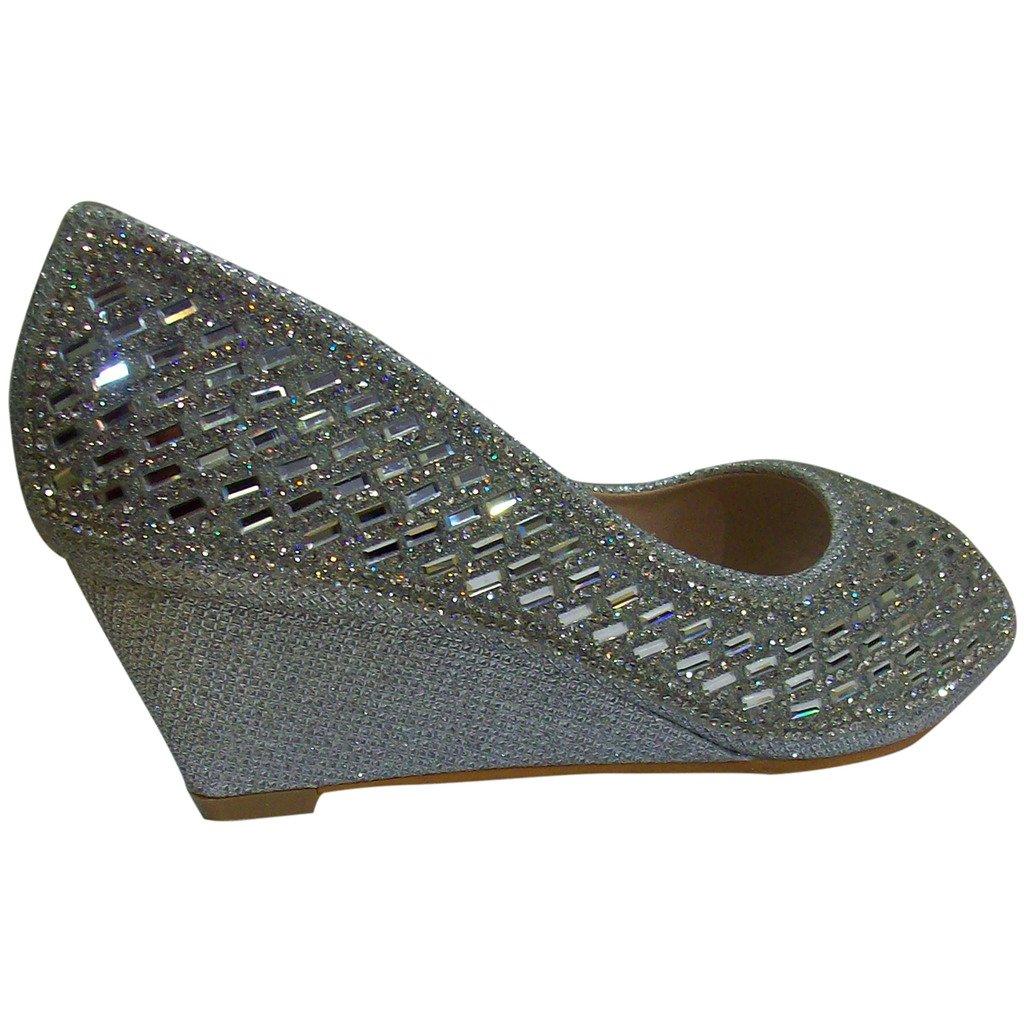 78ae8ac470586 Bella Marie Women's Keira-2 Open Toe Glittery Rhinestone Wedge Shoes